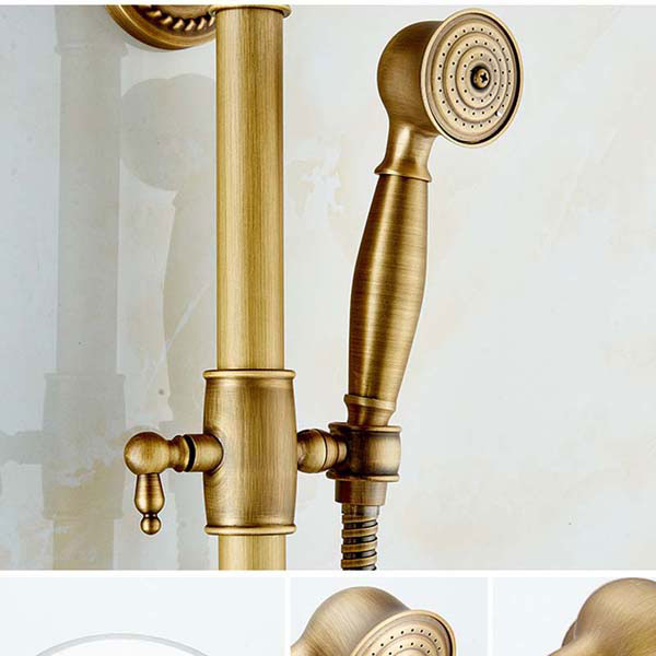 Antique Brass Bronze Finish Rain Shower Set Shower