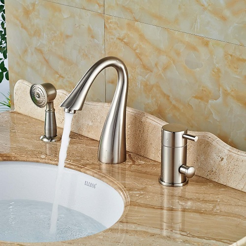 Vegas Single Handle Brushed Nickel Deck Mount Bathtub Faucet with Hand-shower