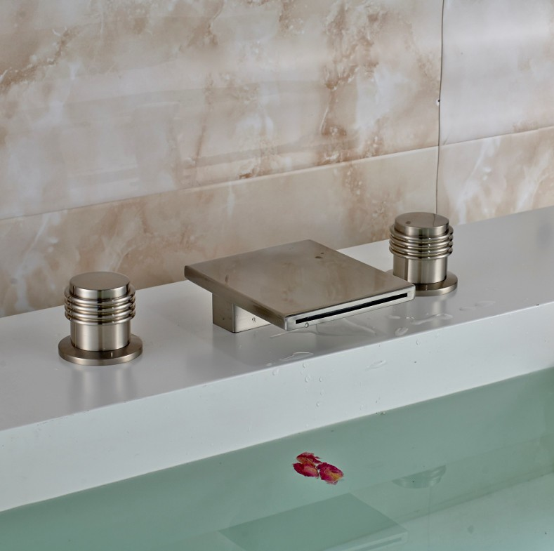 Brushed Nickel Finish Dual Handle Bathtub Waterfall Faucet