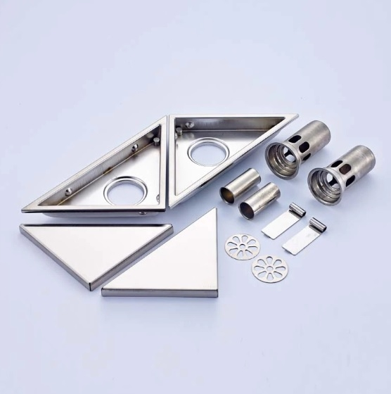 Brushed Nickel Triangle Shape 2 Pieces Shower Floor Drain