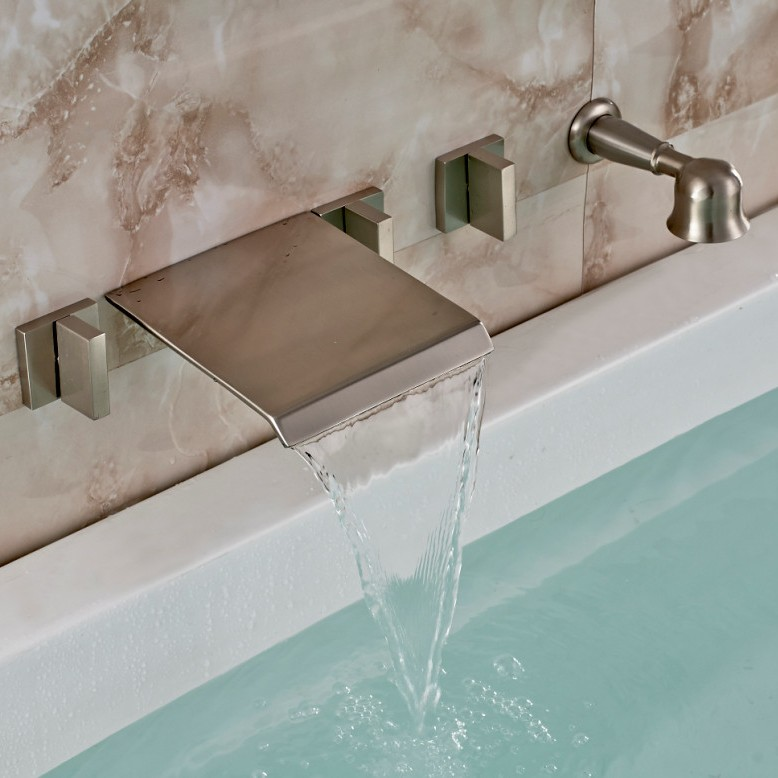Brushed Nickel Wall Mount Waterfall Faucet With Handheld Shower
