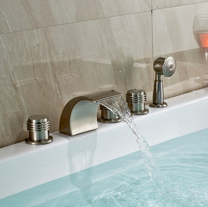 Monora Brushed Nickel Waterfall Tub Faucet Three Handles With ...