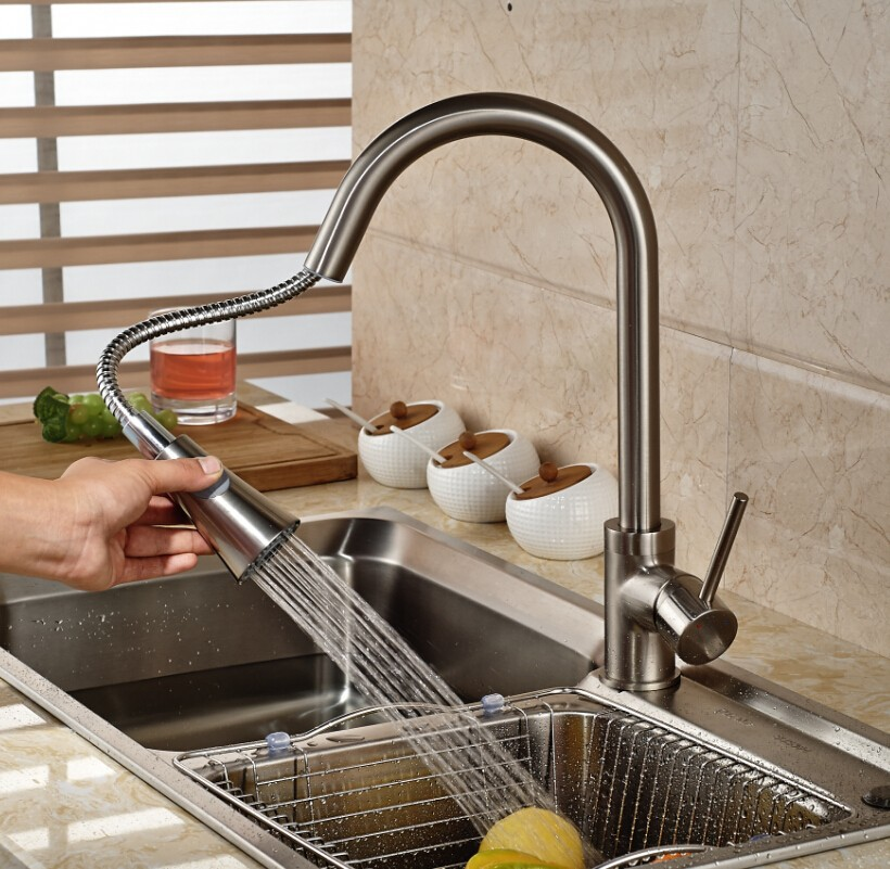 Brushed Nicket Kitchen Faucet with Pullout Spout