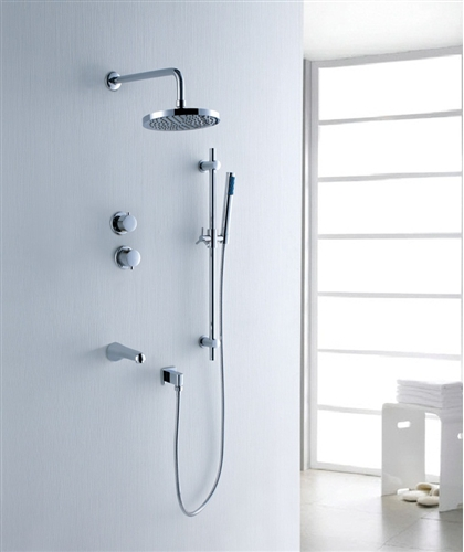 Fabeno Wall Mount shower Head with Handheld Shower and Faucet