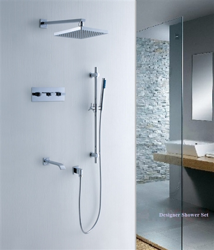 Sonoma Wall Mount Waterfall Showerhead with Shower Set