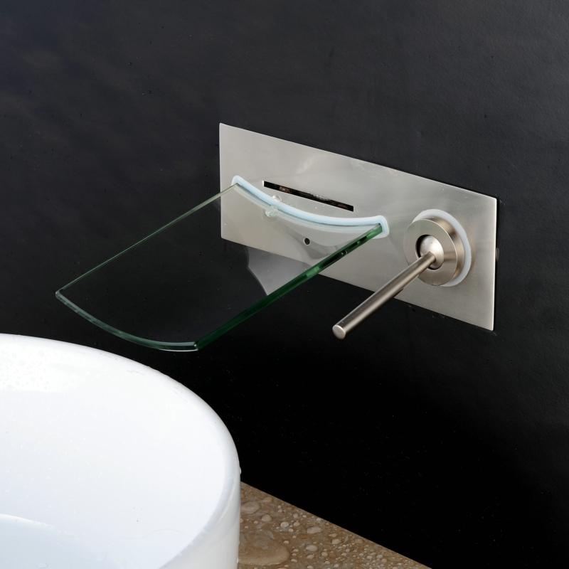 Wall Mount Waterfall Brushed Nickel Bathroom Faucet