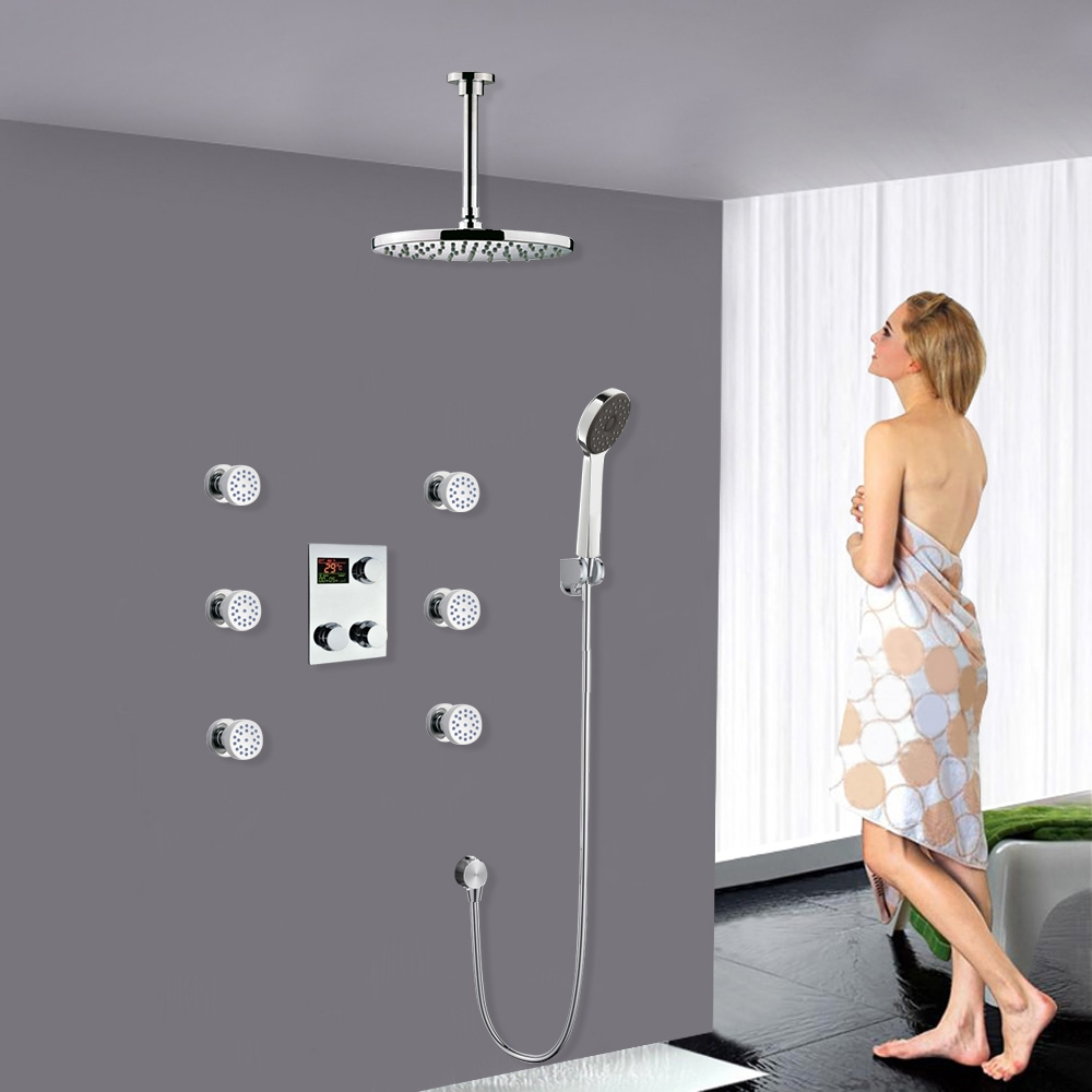 Ceiling Mount Thermostatic Digital Display shower system with hand shower Head Set