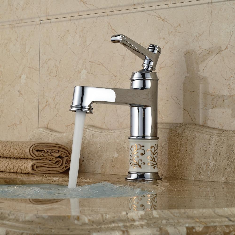 Ceramic Body Bathroom Sink Single Handle Faucet