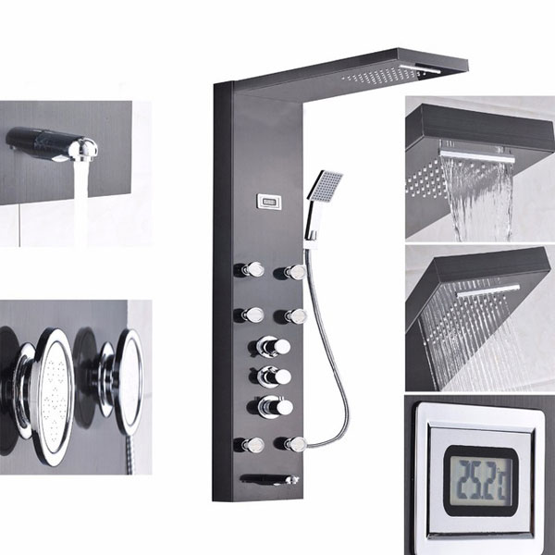 Chrome Multi Function Rain Waterfall Shower Panel Faucet Hand Shower