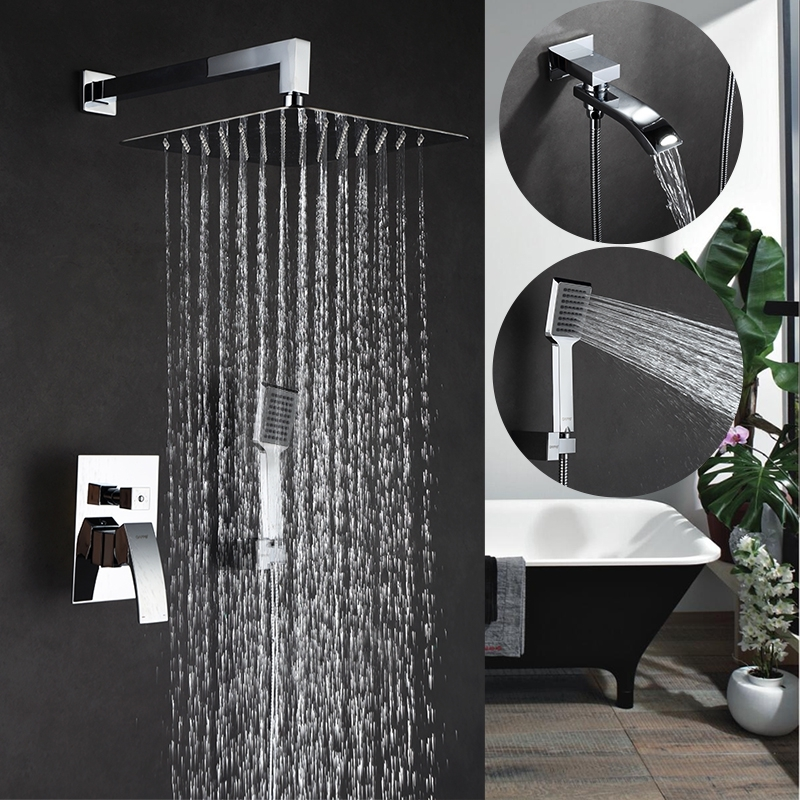 Chrome Wall Mounted Rain Waterfall with Bathroom Handheld Shower Head