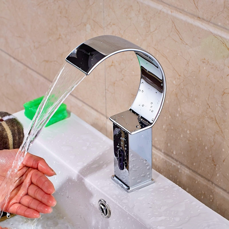 Chrome Widespread Waterfall Automatic Sensor Bathroom Faucet
