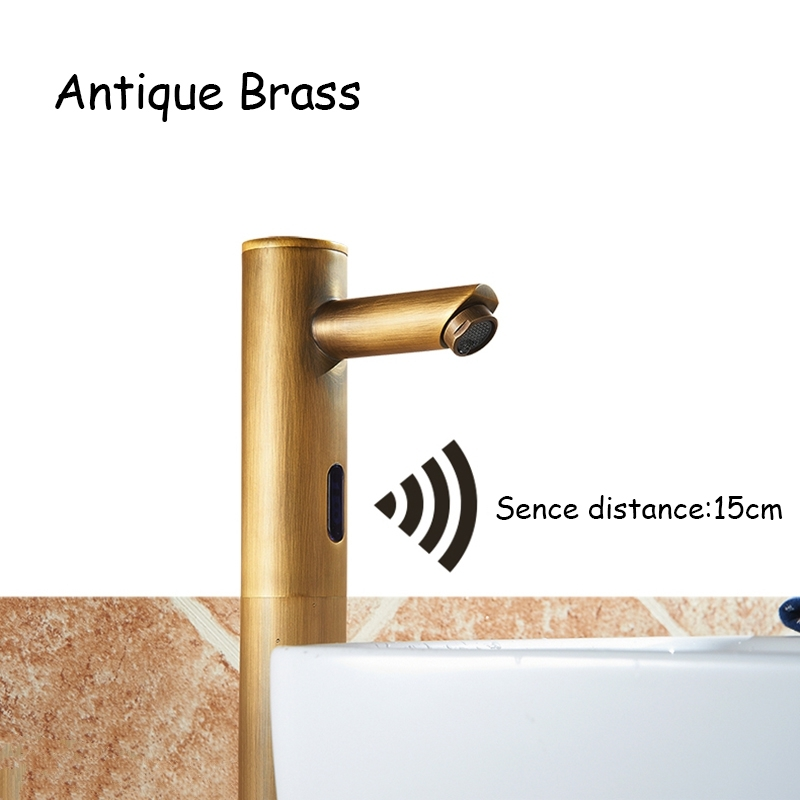 Classic Antique Brass Automatic Sensor Bathroom Faucet