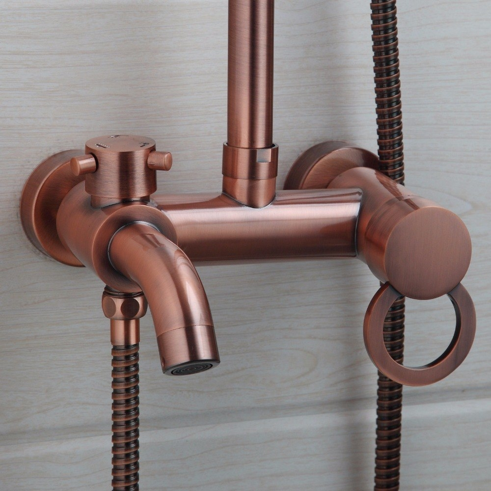 Classic Round Rose Gold Wall Mount Single Handle Shower with Hand Held Shower