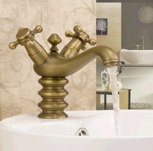 Classical Bathroom Single Hole Antique, Single Basin Double Faucet Bathroom Sink