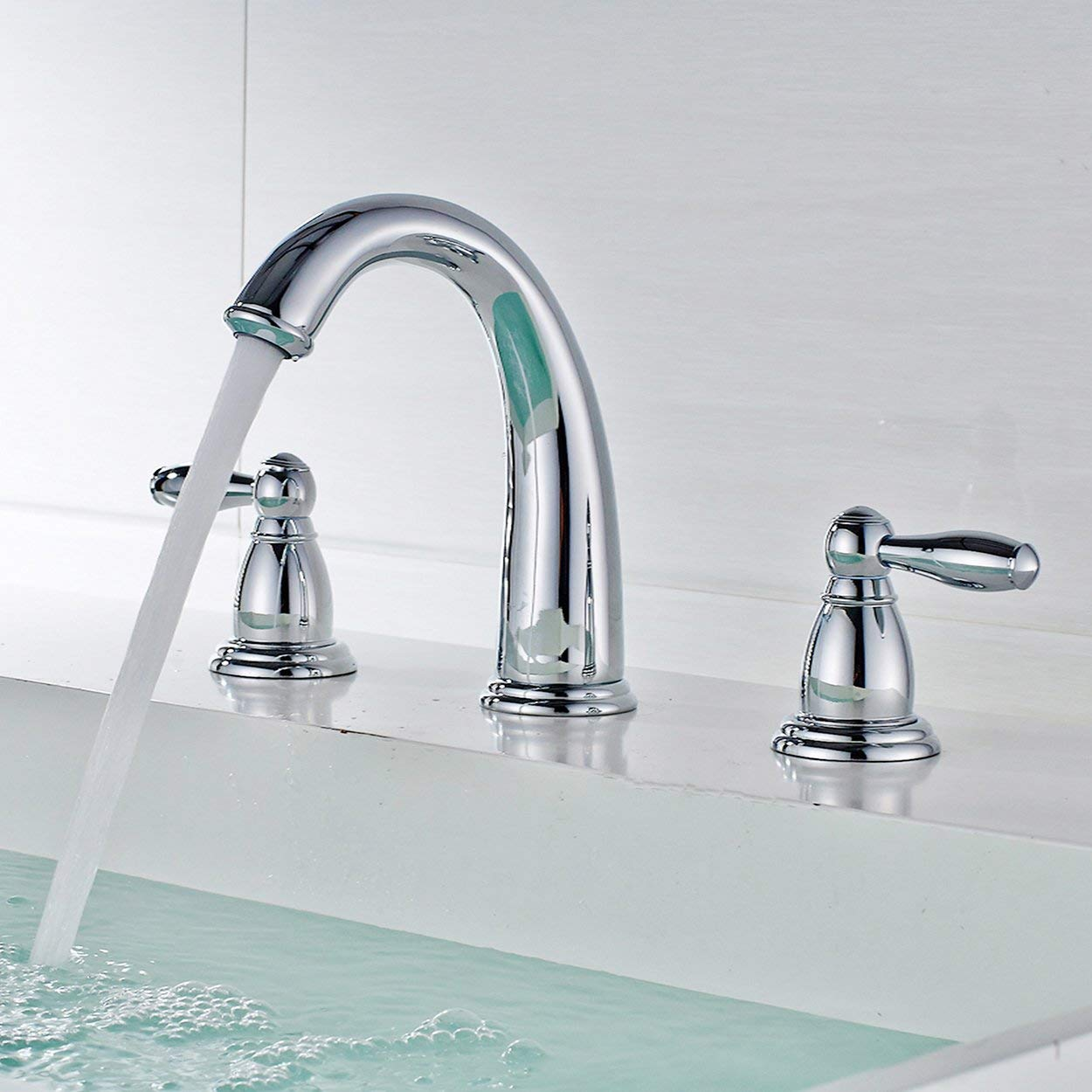 Double Handle Chrome Finish Widespread Bathroom Sink Faucet