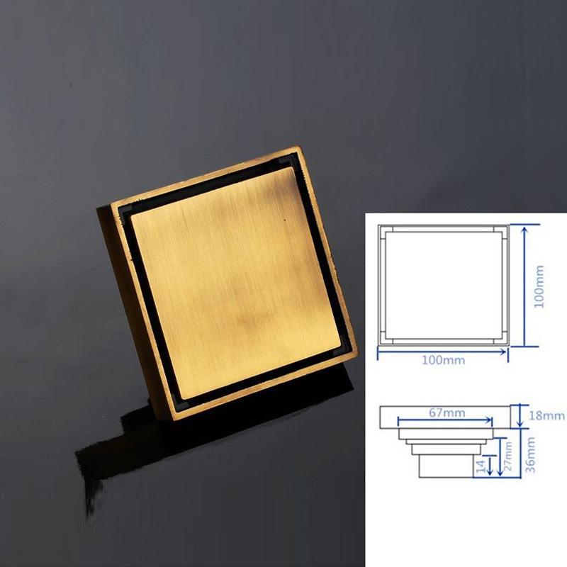"Colander Style Antique Brass Square 4"" Bathroom Drain System"