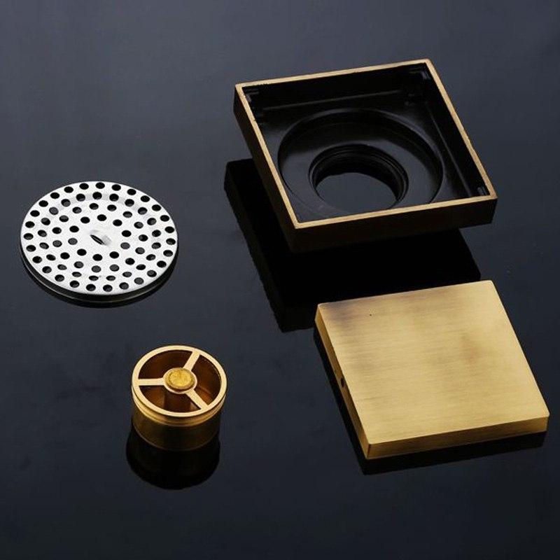 "Colander Style Antique Brass Square 4"" Bathroom Drain Systemq"
