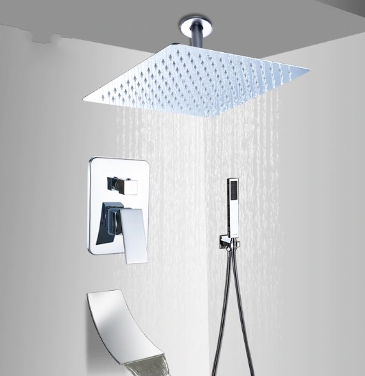 Contemporary Chrome Rainfall Shower Head with Hand-Held Shower & Faucet