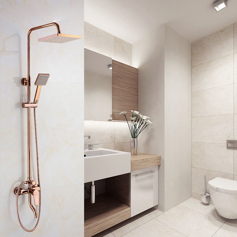 Juno Contemporary Rose Gold Square 8 Inch Rain Shower Head With Shower Faucet