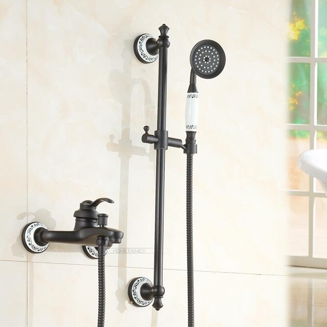 Contemporary Style Gold Single Handle Bathtub Faucet with Hand-Held Shower