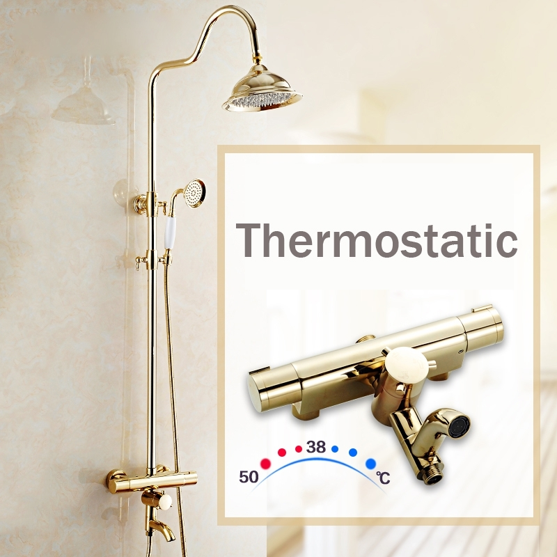 Contemporary Thermostatic Gold Bathroom Faucet Shower with Hand-Held Shower