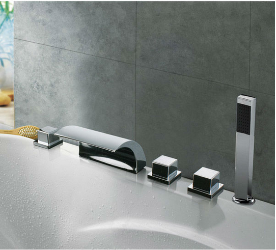Triple Handles Waterfall LED Bathtub Faucet with Hand-Shower