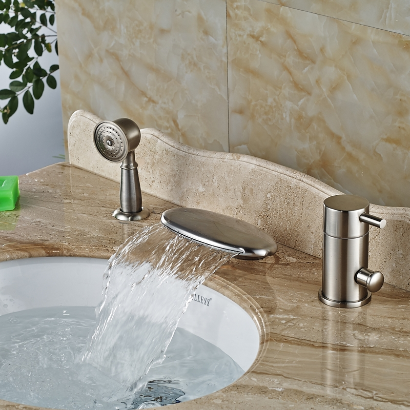 Curve Wide Brushed Nickel Deck Single Handle Waterfall with Hand-Held Shower