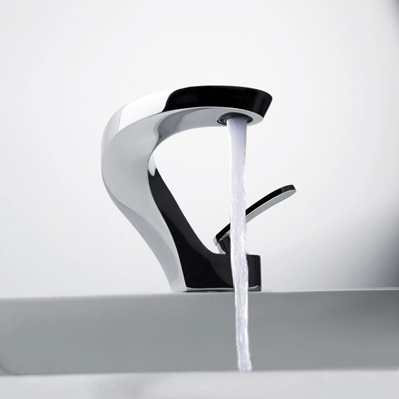 Curved Modern Bathroom Sink Mixer Faucet
