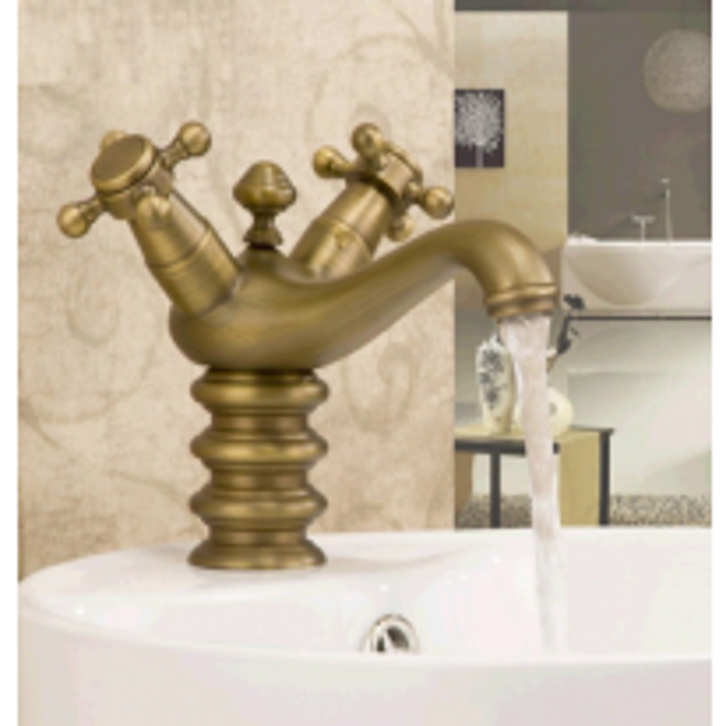 Classical Bathroom Single Hole Antique Brass Basin Faucet    Double Handle Sink Mixer Tap