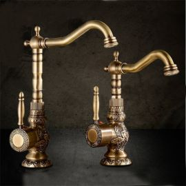 Alexa Antique Brass Bathroom Faucet White
