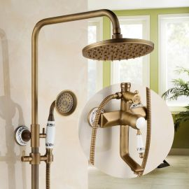 Juno Classic Polished Brass Shower Head Extension Arm With Handheld Shower and Tub Spout