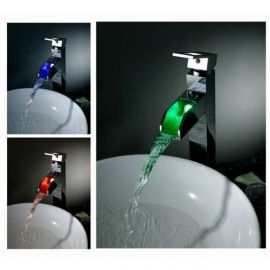 32CM Chrome Finish Waterfall Color Changing LED Bathroom Sink Faucet Single Lever Single Handle