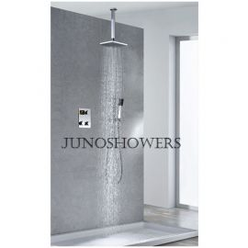 Contemporary Square Shower Head Thermostatic Digital Display Bathroom Handheld Shower