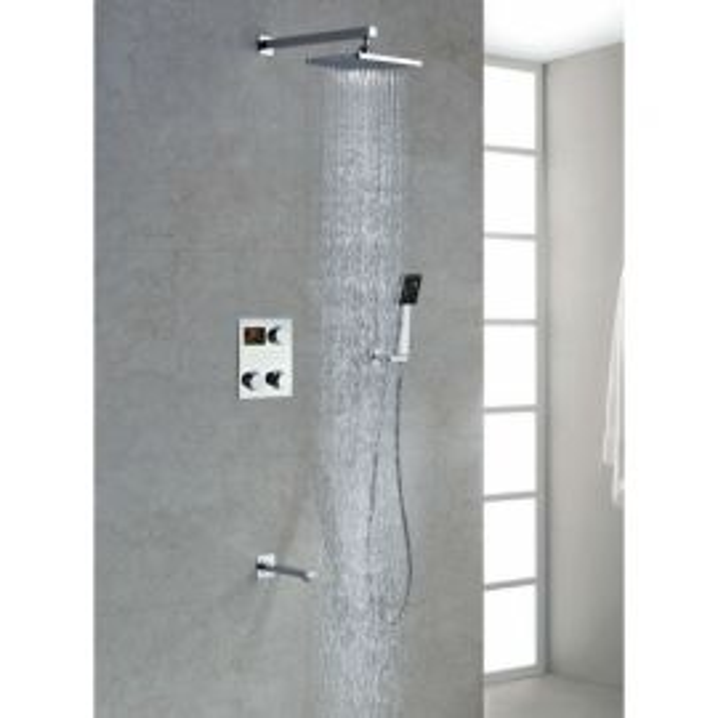 Juno Digital Display Chrome Finish Rain Shower Head Set with Handheld Shower