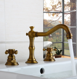 Juno Long Swivel Spout Deck Mount Brass Dual Handle Bathroom Sink Faucet