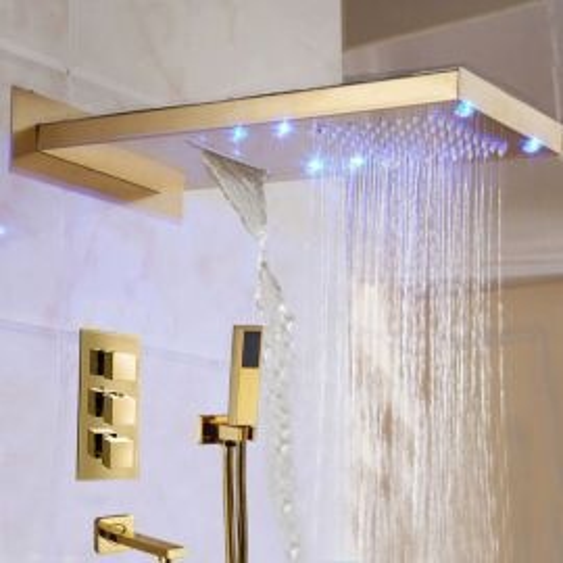 Juno Gold Finish Shower Set With Handheld Shower Head