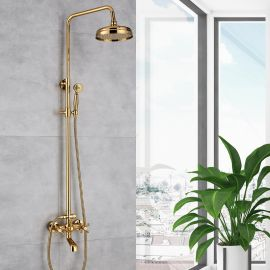 Juno Luxury Gold Shower Mixer Faucet Brass Rainfall Shower Set