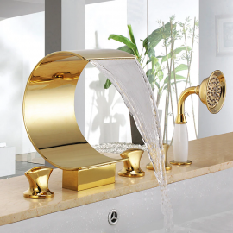 Juno Gold Waterfall Deck Mount Bathtub Faucet