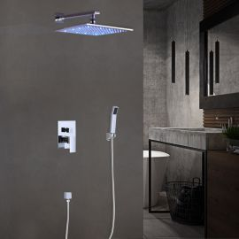 Juno Square LED Shower Head - Shower Head Set with Hand Held Shower
