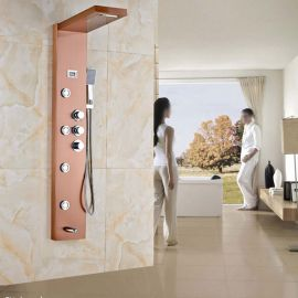 Juno Stainless Steel Rose Gold Shower Panel 6