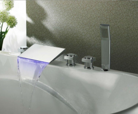 Hand-Shower Waterfall LED Bath-Tub Faucet