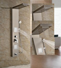 Waterfall Wall Mount Shower Panel With Handheld Shower And Body Jets