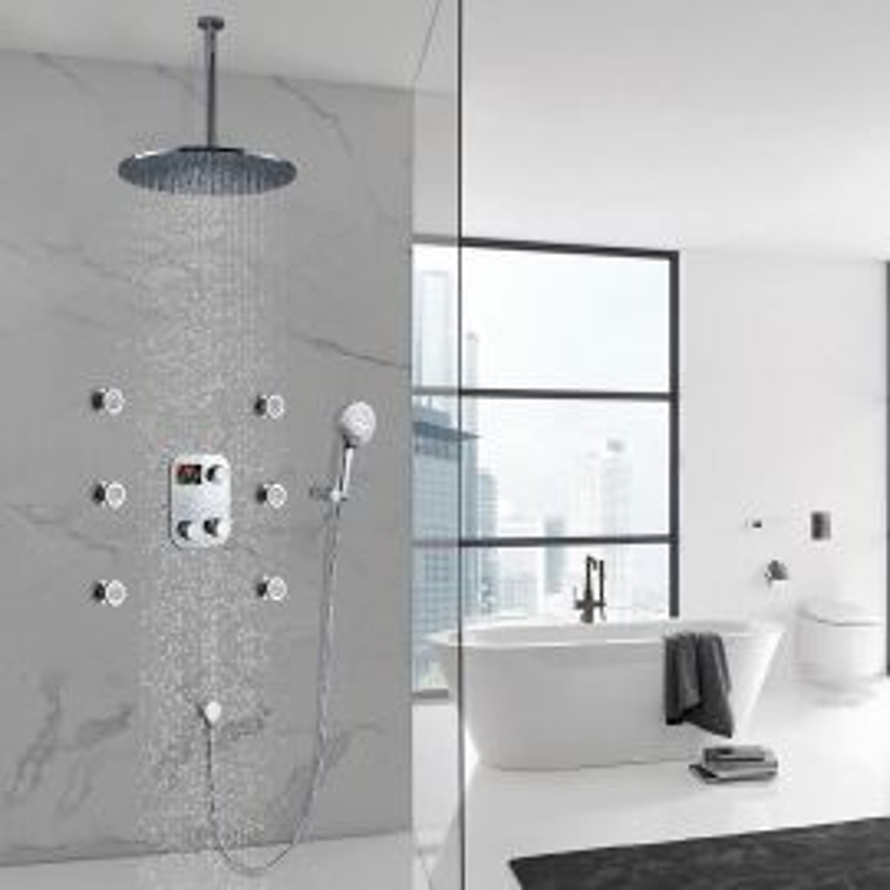 Round Digital Massage Shower Faucet Large Shower Head