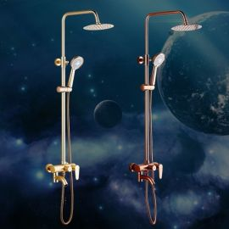 Round Luxury Gold 8 Inches Bathroom Shower with Handheld Shower