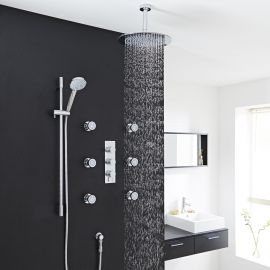 Nice Quest Chrome Thermostatic Shower System Set With Square Rain