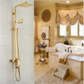 Juno Square Gold Bathroom Shower Faucet with White Hand Held Shower