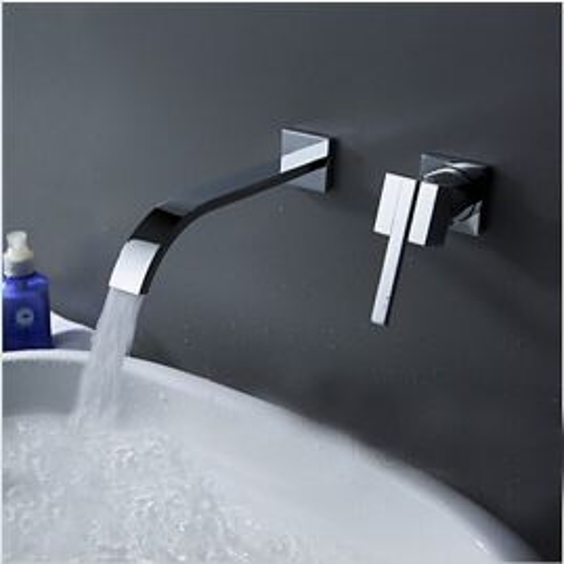 Wall Mounted Single Handle Chrome Bathroom faucet