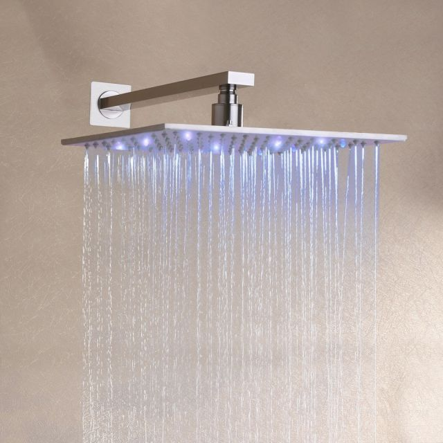 12 inch LED Rainfall Shower Faucet System With Hand Shower Mixer Brushed Nickel