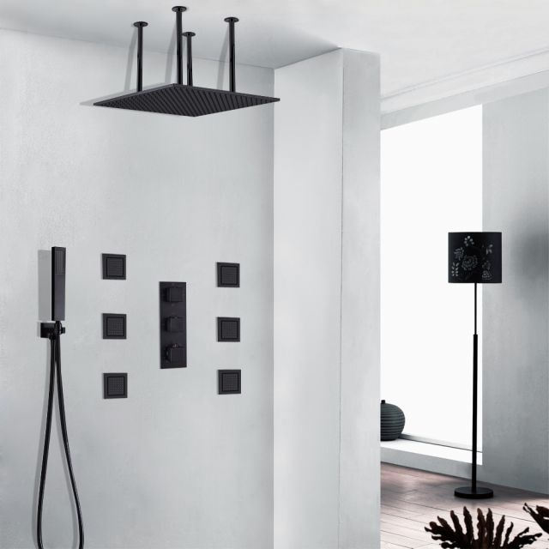 "LED 10/""Oil Rubbed Bronze Rainfall Shower Combo Set Shower Head W//Handheld Mixer"