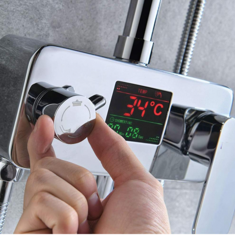 Juno Digital Display Chrome Finish Shower Faucet Set